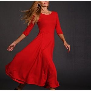 3/4 Length Sleeve Red Dress